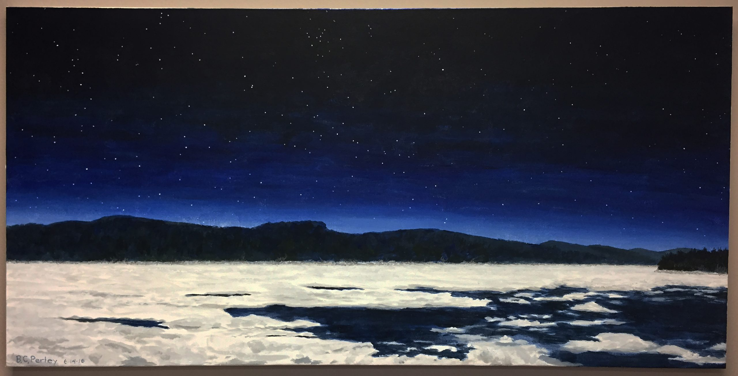A painting of the winter solstice done by C.I.S. Director Dr. Bernard Perley of a lake partially covered in ice with mountains in the background, under a dark blue gradient sky full of stars.